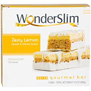 WonderSlim Low-Carb Gourmet High Protein Bar/Diet Bars with 10g Protein - Trans Fat Free, Cholesterol Free, Zesty Lemon (7 count)