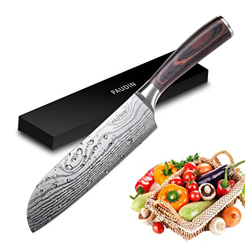 PAUDIN Classic 7 inch Hollow Ground Santoku Knife, German High Carbon Stainless Steel Kitchen Knife by PAUDIN (Image #8)