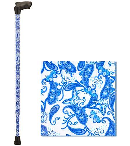 NOVA Palm Grip Orthopedic Handle Walking Cane for Left Hand, Lightweight and Adjustable, Blue Porcelain Design