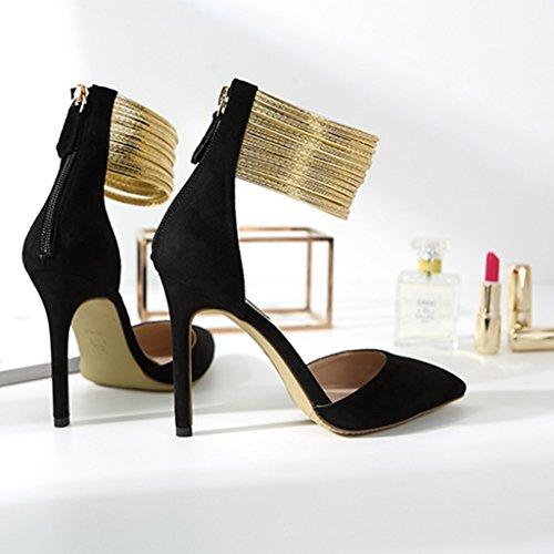 Sexy Size A 5cm 10 Scarpe color Cheng Fang Donna Sandali 34 Tacchi Electronic 5cm Business Sposa 8 Banchetto Chi Black Da Spillo qIUAA