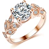 Women Girls Fashion Jewelry Sparkling Zircon Leaves Copper Finger Ring WelcomeShop (9)