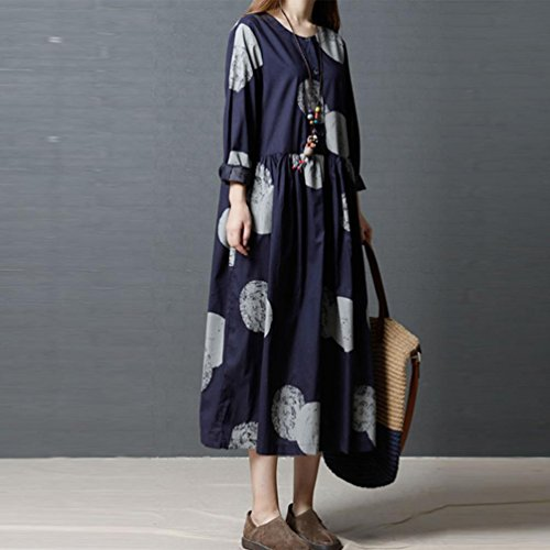 Bohmien Lache Col Coton Femme Impression Jupe Lin Grande Longues Manches Taille Rond Bovake Robe en Bleu wHEIqP