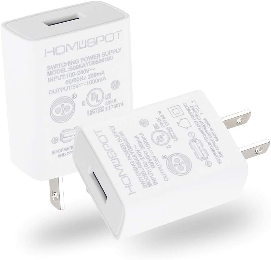 UL Certified USB Wall Charger Power Supply 5v 1A 1000mA Universal Portable Travel Power Adapter Plug Block High Speed for iPhone iPad iPad Samsung HTC LG iPod Nokia Travel Office Home Use