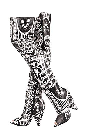 Weboo Hollywood-01 Over Knee Thigh High Open Toe Cone Heel Graphic Print Boots Black & White 7.5