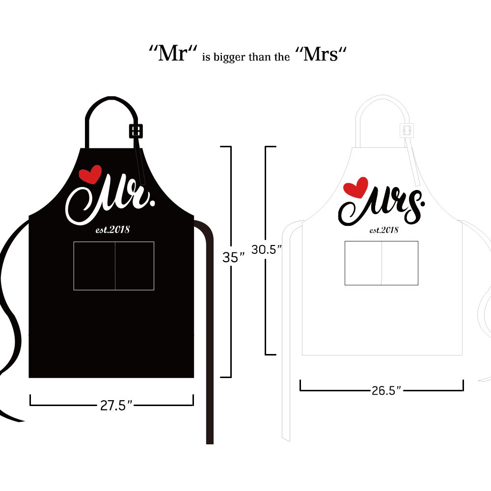 Aprons Gift Set With His and Hers Aprons,Heart-Shaped Ring Dish,Mr. and Mrs. Est. 2018 Kitchen Cooking Set With Gift Box, Funny Cooking Bibs for Wedding Marriage Newlyweds(Set of 2) (Heart) by NLooking (Image #5)