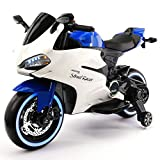 Street Racer 12V Battery Power Motorized Electric Kids Ride-On Motorcycle Bike + EVA Foam Rubber LED Wheels + Leather Seat + MP3 Music Player + Spring Shock Suspension + Training Wheels (Blue)