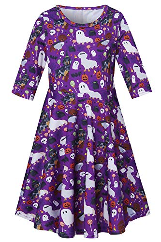 Ghost Pumpkin Dog Witches Skull Candy Terror Dress for Preteen Girls Black Purple Autumn Outside Play Dresses Chic Colourful Street Casucal Frocks Clothes 10-13 Years Old