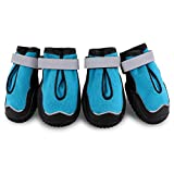 Petbobi Breathable Dog Boots Stay On Dog Shoes for Medium Dogs All Weather Dog Booties with Double Sole and Adjustable Straps (4#, Blue)