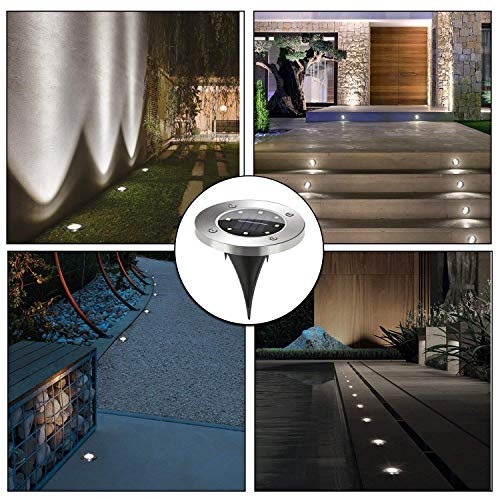 Solar Pathway Lights Outdoor, Solar Garden Light 8 LED, Water-Resistant for Garden, Path, Landscape, Patio, Driveway, and Lawn, Easy No-Wire Installation (4 Pack- White) by Subsistent (Image #1)