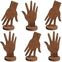 Mooca 6 Pcs Set Wooden Hand Form Jewelry Display Bracelet Ring Stand Holder