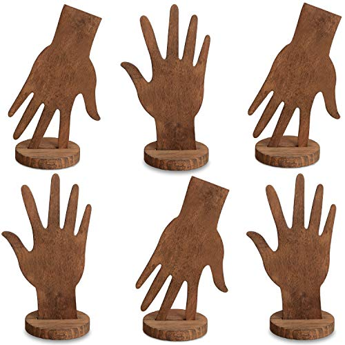 Mooca 6 Pcs Set Wooden Hand Form Jewelry Display Bracelet Ring Stand Holder, Brown