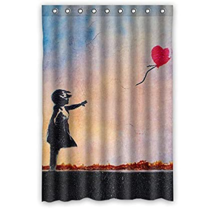 Carry Me Go Bathroom Shower Curtain Banksy Girl Balloon Art Quote Amazoncouk Kitchen Home