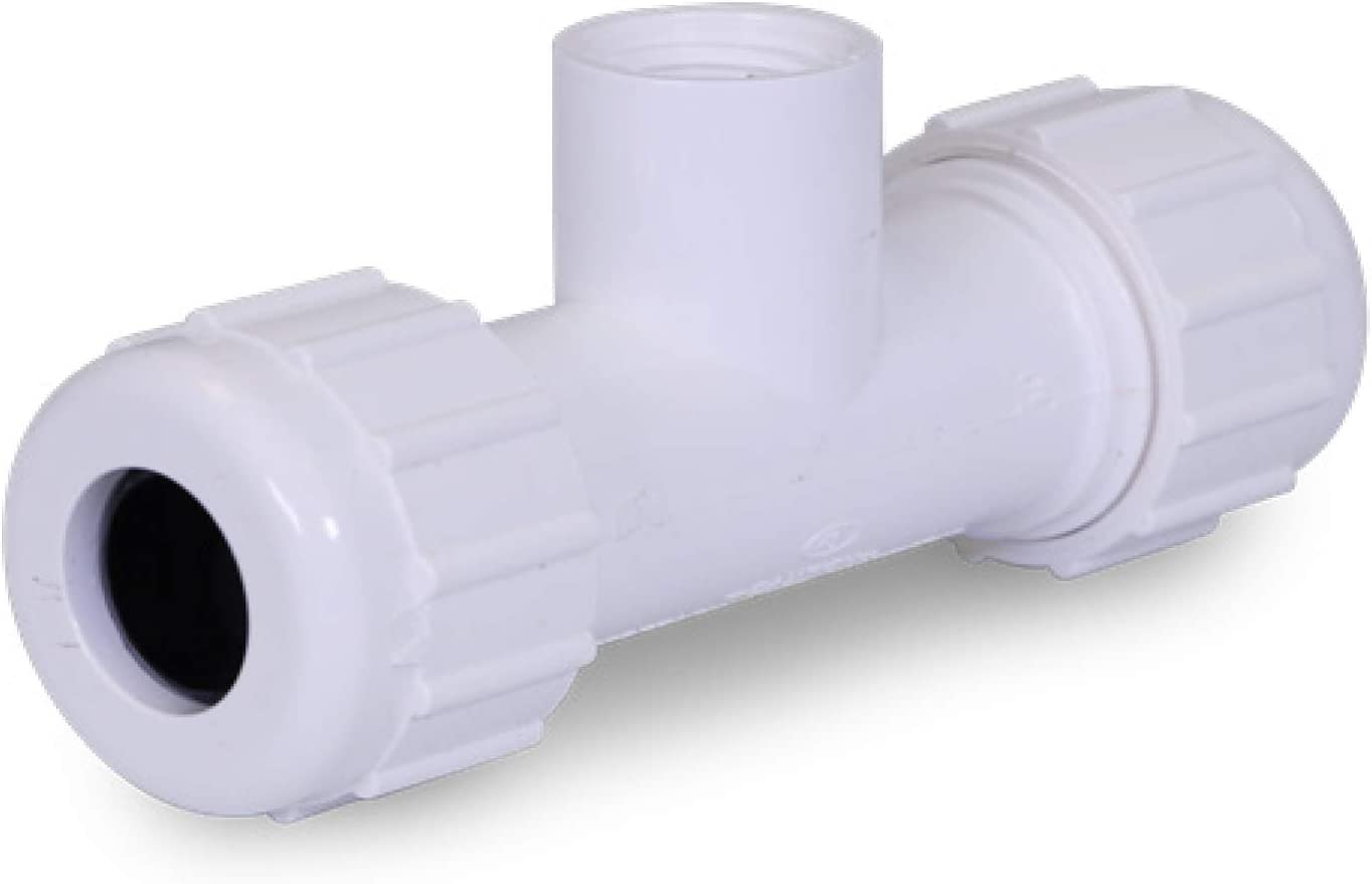 Midline Valve PVC Compression Tee Pipe Fitting with FIP Branch 1-1//2 White Plastic 592DU112