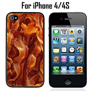 Funny Crispy Strips Bacon Custom Case/ Cover/Skin *NEW* Case for Apple iPhone 4/4S - Black - Plastic Case (Ships from CA) Custom Protective Case , Design Case-ATT Verizon T-mobile Sprint ,Friendly Packaging - Slim Case