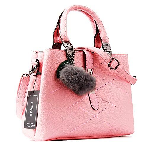 Women Handbag,Women Bag, KINGH Zip Closure Tote Vintage Shoulder Bag PU Leather 116 Pink