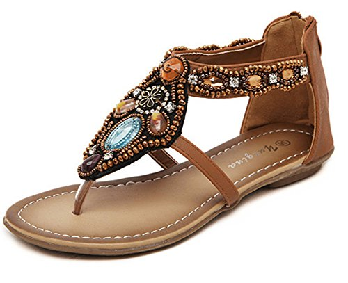 Showhow Womens Fashion Boho Rhinestone Split Tå Flats Skor Brun