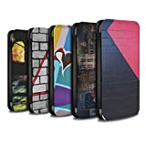 STUFF4 PU Leather Wallet Flip Case/Cover for Apple iPhone X/10 / Pack 12pcs Design / Urban Street Art Collection