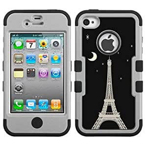 One Tough Shield ? 3-Layer Hybrid Design phone Case (Grey/Black) for Apple iPhone 4 4s - (Eiffel Tower Moon)
