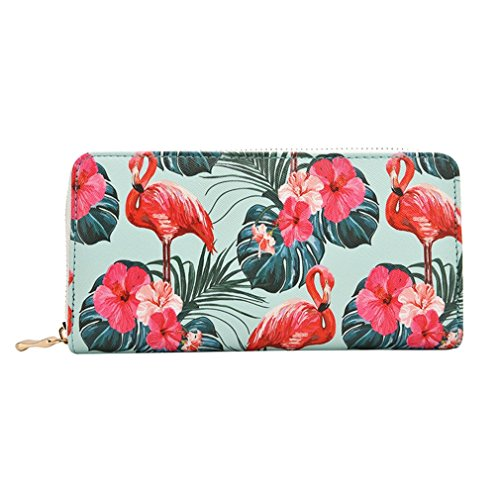 Flamingo Capacity Purse Wallets Women's Print Bag Floral Card Ladies Leather Large Fashion Phone Holder Clutch PU Long Flower SU1d0