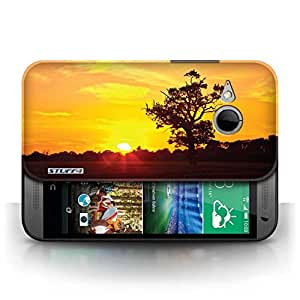 KOBALT? Protective Hard Back Phone Case / Cover for HTC One/1 Mini 2 | Oak Tree Orange Design | Sunset Scenery Collection