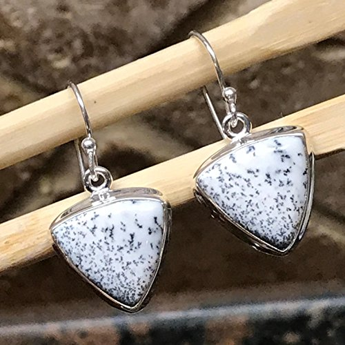 Natural Dentritic Agate 925 Solid Sterling Silver Dangle Earrings 30mm (30 Mm Agate)