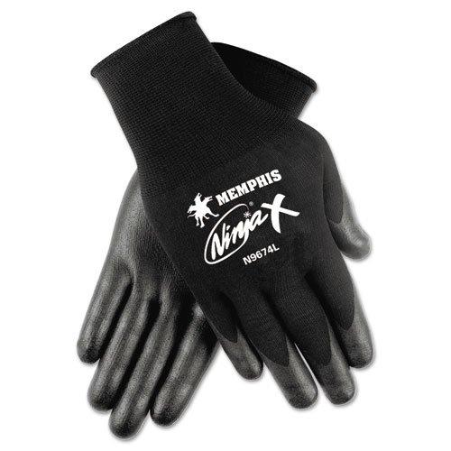 Memphis N9674L Ninja x Bi-Polymer Coated Gloves, Large, Black, (Bi Polymer Gloves)