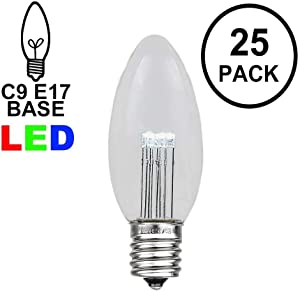 Novelty Lights 25 Pack C9 LED Outdoor Christmas Glass Replacement Bulbs, Pure White