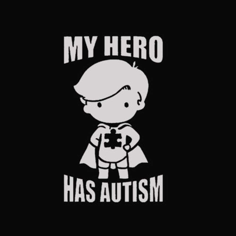 My Hero (Boy) Has Autism - Vinyl - 6 Inches (Color: White) Decal Laptop Tablet Skateboard Car Windows Stickers