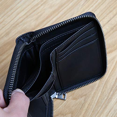 Mini Cerniera Black Verticale Lmshm In Con Cambiamento Corta Portafoglio marrone Pelle Piccolo waYISaq