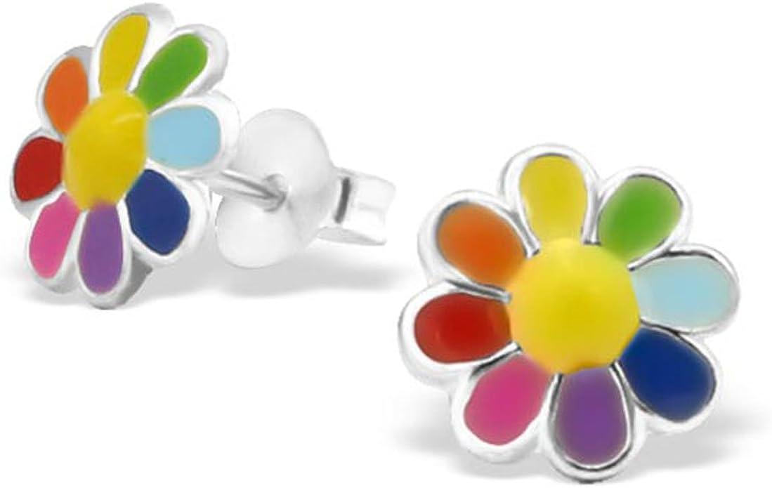 Colourful Flower Earrings Cute Multi Colour Girl Earrings Post Stud 925 Sterling Silver E20765