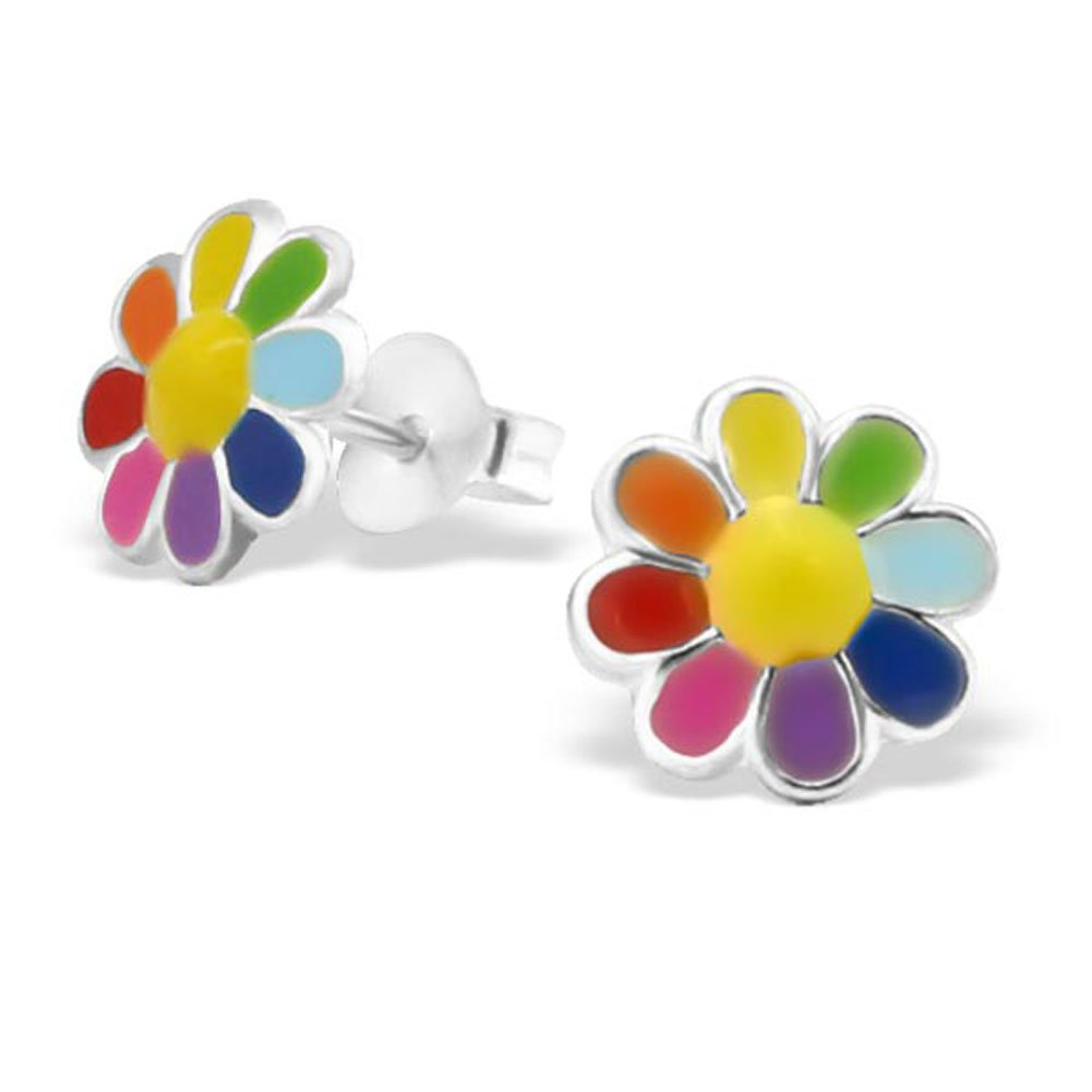 E20765 Colourful Flower Earrings Cute Multi Colour Girl Earrings Post Stud 925 Sterling Silver