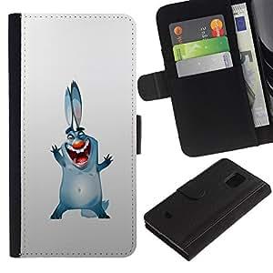 LASTONE PHONE CASE / Lujo Billetera de Cuero Caso del tirón Titular de la tarjeta Flip Carcasa Funda para Samsung Galaxy S5 Mini, SM-G800, NOT S5 REGULAR! / Bunny Dog Ears Big Blue Cartoon Drawing Smile