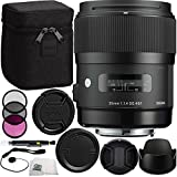 Sigma 35mm f/1.4 DG HSM Art Lens (for Canon DSLR Camera) Bundle Includes Manufacturer Accessories + 3 PC Filter Kit + Lens Cap + Lens Pen + Cap Keeper with Microfiber Cleaning Cloth