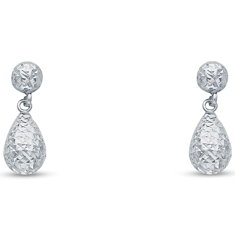Amazon 14k White Gold Diamond Cut Fancy Dangle Hanging Drop