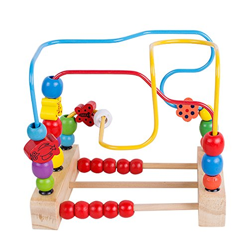 zinnor First Bead Maze Premium Activity Cube for Baby, Toddler Wooden Roller Coaster Sliding Beads on Durable Wire Frame with Suction Cup Bottom Manipulative Toy for Toddlers ()