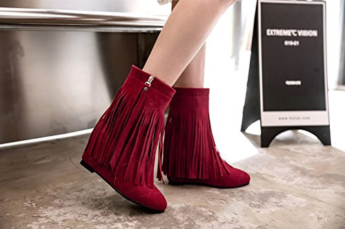 Aisun Damen Spitz Zehen Unsichtbar Keilabsatz Erhöht Troddel Kurzschaft Stiefel mit Reißverschluss Rot