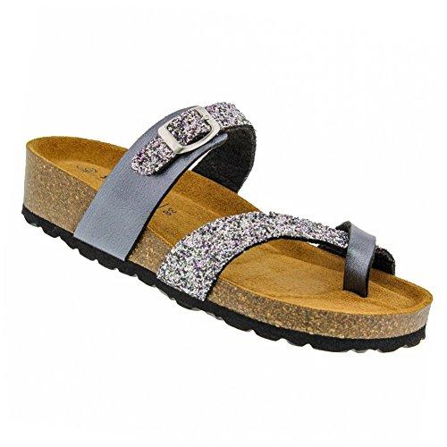 1a7f45ed581967 Sanosan New Women s Reese Slide Sandal Gunmetal Glitter 40
