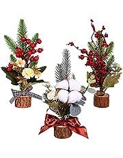3 Stks Tafelblad Mini Kerstbomen Mini Bureau Pijnbomen met Rode Bes en Hout Base Tafelblad Decoratie Kerst Thuis Party Vakantie Decor Kerstfeest Ornamenten