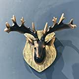 BWLZSP American country retro deer head wall hanging living room entrance resin animal home wall decoration AP5091636