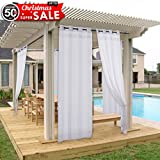 Privacy Outdoor Curtain Panel For Porch   NICETOWN Window Treatment Silver  Grommet Water Repellent Indoor Outdoor Sheer Drape With Rope Tieback (1  Panel, ...