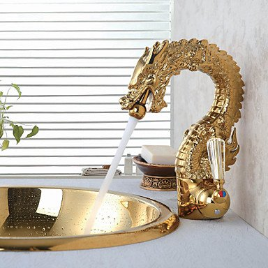 MENRYANG High-End Luxury Series of Pure Hand-Made Brass Dragon Shape Bathroom Sink Faucet - Gold by MENRYANG (Image #1)