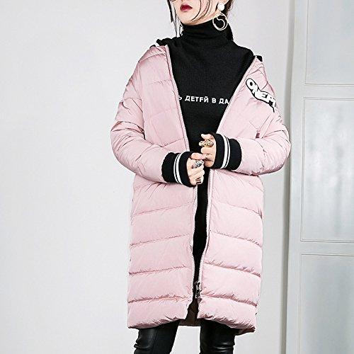 Pink Large Xuanku Show Thin Baseball Jacket, Down Cotton, Cotton Padded Jacket, Long Coat