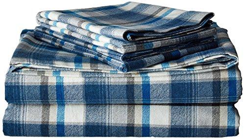 Eddie Bauer Spencer Plaid Flannel Sheet Set, Full, Blue