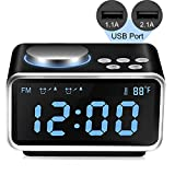 Qiwoo Alarm Clock FM Radio with 2 USB Port for Charging 3.2'' Large Digital Display 5 Dimmer Brightness Temperature Snooze Adjustable Alarm Volume Electronic for Heavy Sleeper Travel Office Kid Bedroom