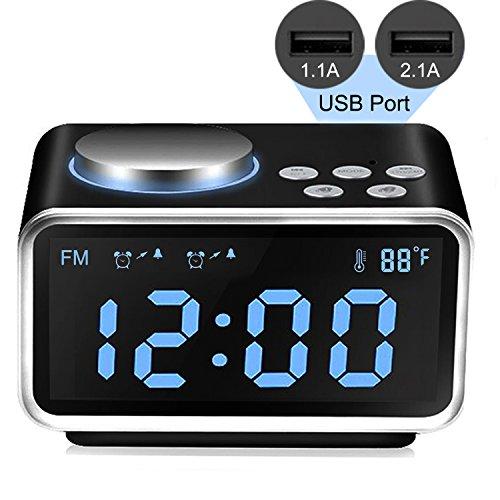 Qiwoo Alarm Clock Radio with FM Radio 2 USB Port for Charging, 3.2