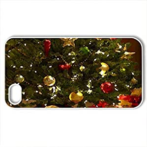 Christmas tree - Case Cover for iPhone 4 and 4s (Winter Series, Watercolor style, White)