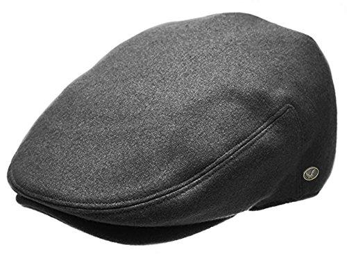 - Classic Men's Flat Hat Wool Newsboy Driving Cap Daily wear (Plain Charcoal, Large)