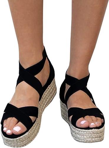 Women Sandals Summer Flatform Ankle Strap Open Toe Criss Cross Low Heeled Shoes