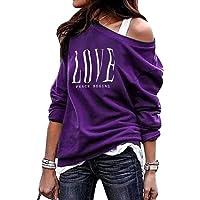 GHdggk Womens T-Shirt Off Shoulder Long Sleeve Oversized Print Letter Autumn Tops