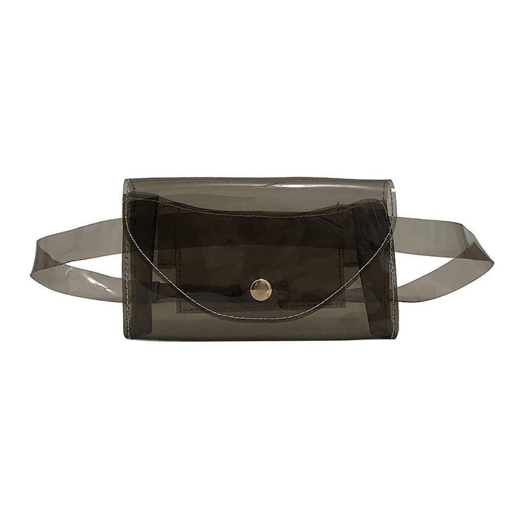 Shopping Student Party Office Simple Handbag Women Girl Pin Buckle Belt Transparent Crossbody Bag Dinner Messenger Bag for Mobile Phone Wedding Travel Kecar❤Fashion Waist Bag